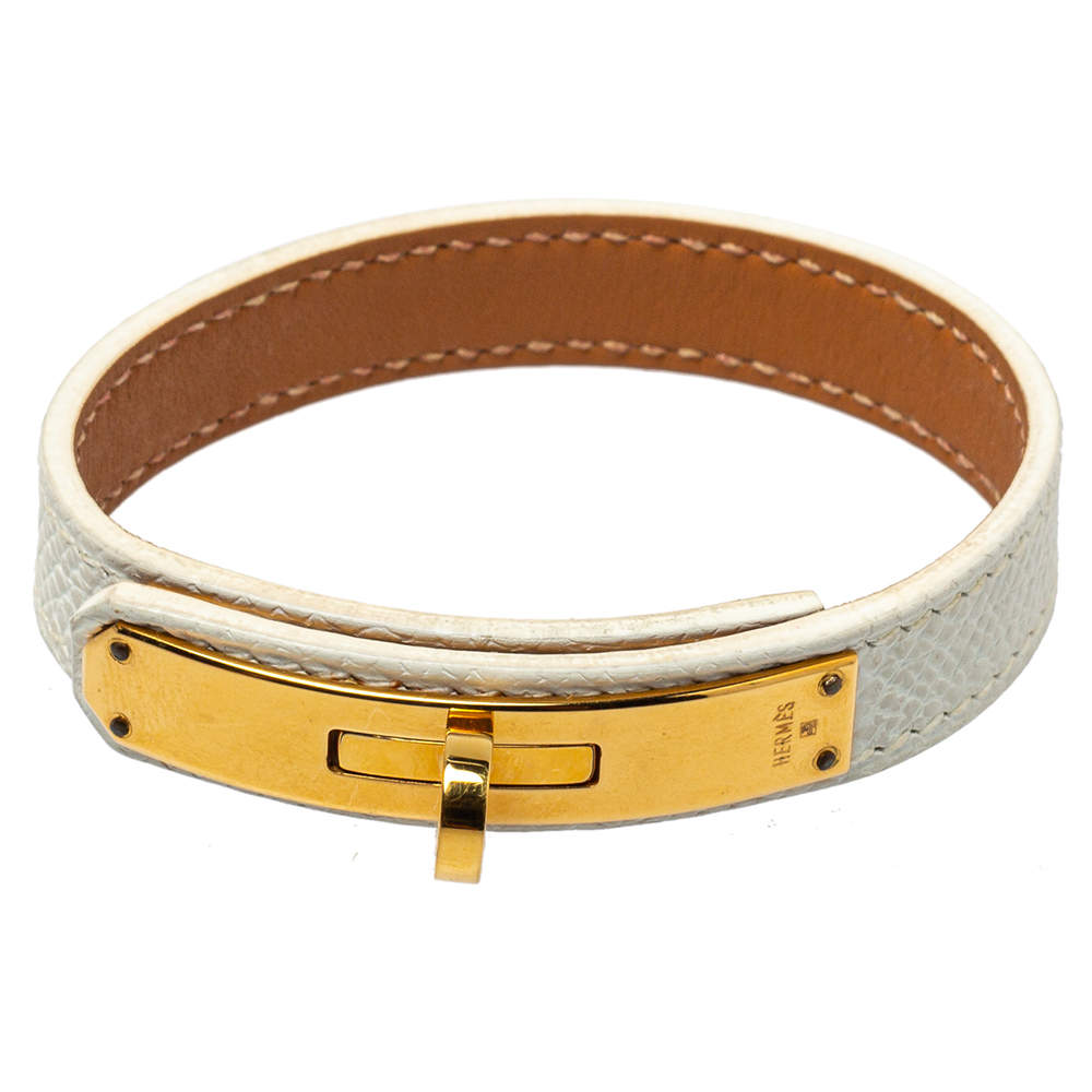 Hermès White Leather Gold Plated Kelly Single Tour Bracelet M