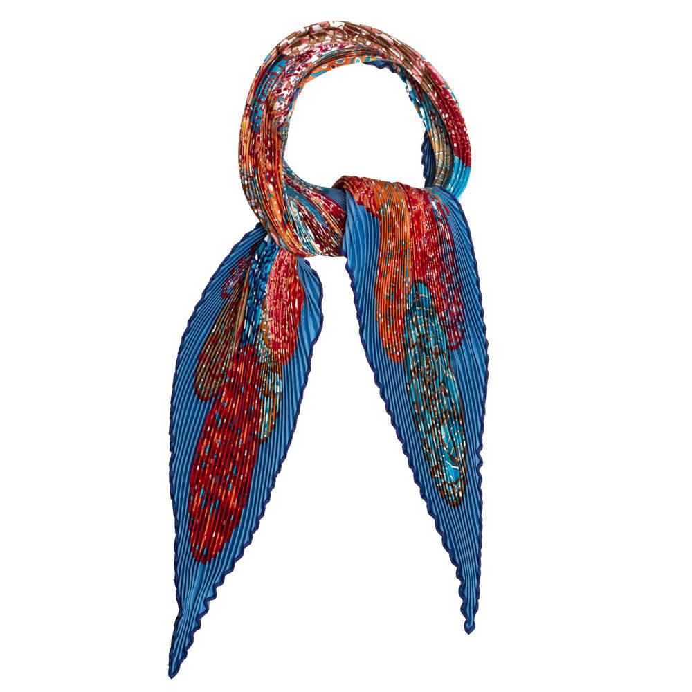 Hermès Multicolor Rêves d'escargots Silk Plisse Scarf