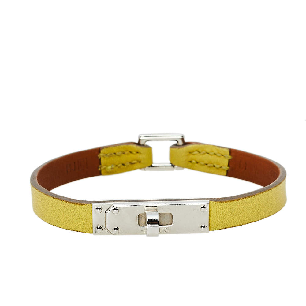 Hermès Soufre Leather Micro Kelly Bracelet M