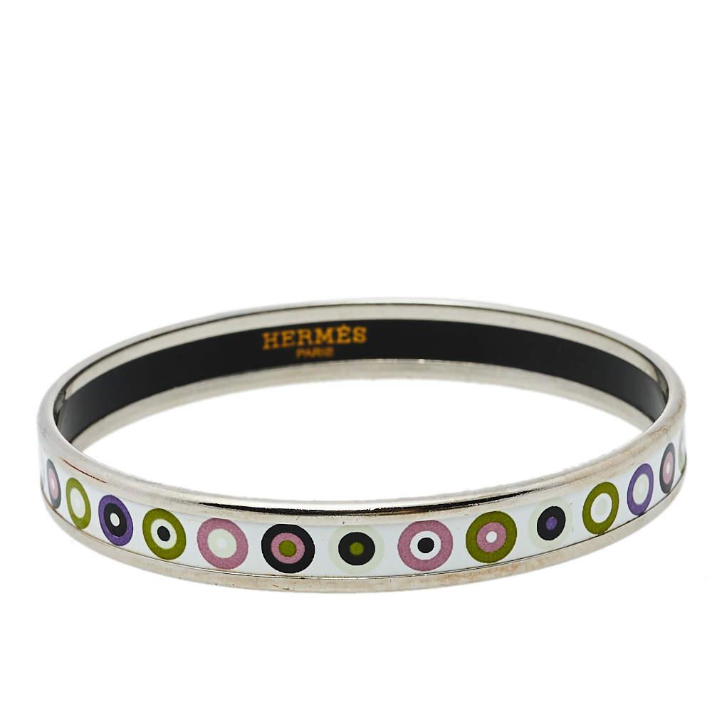 Hermès Dancing Circles Enamel Palladium Plated Bracelet