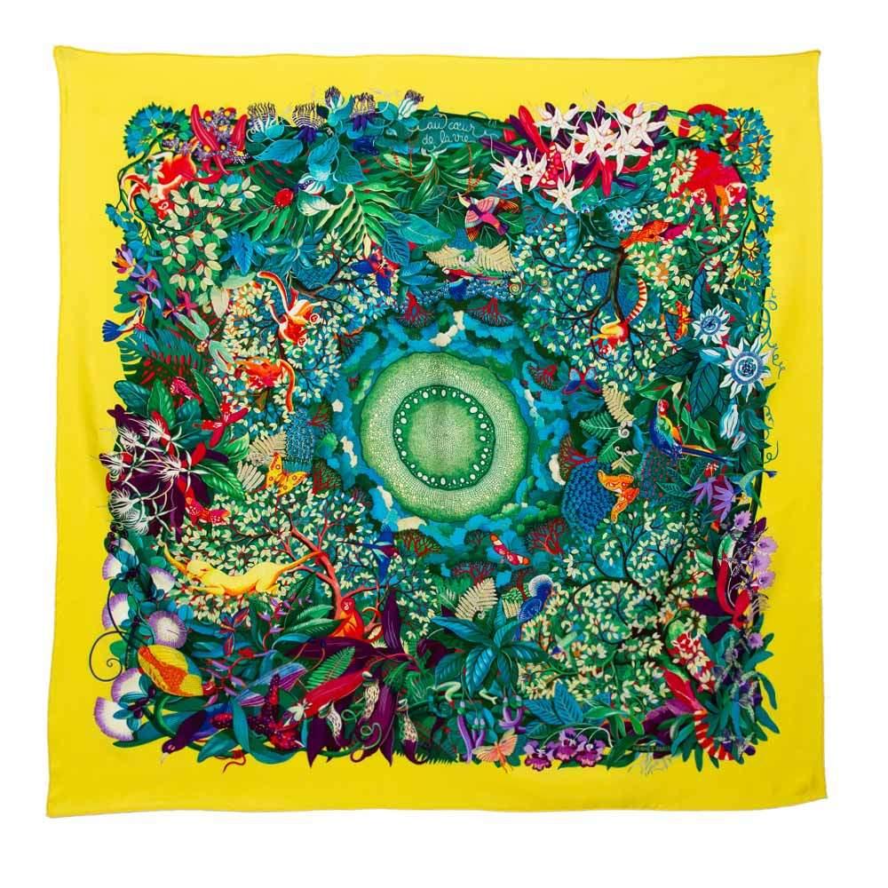 Hermès Yellow Heart of Life Printed Silk Square Scarf