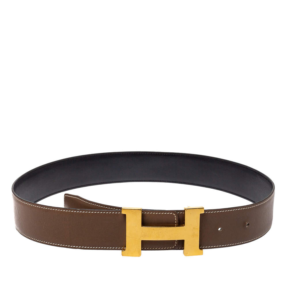 Hermes Taupe/Black Swift Leather Reversible Constance Belt 80 CM