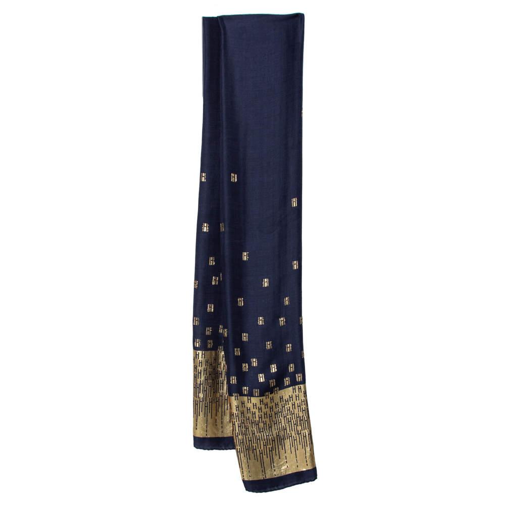 Hermes Navy Blue & Gold Hart Deco Jacquard Silk & Cashmere Stole