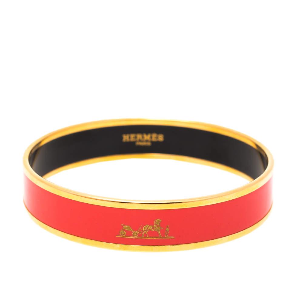 Hermès Caleche Coral Pink Enamel Gold Plated Bracelet