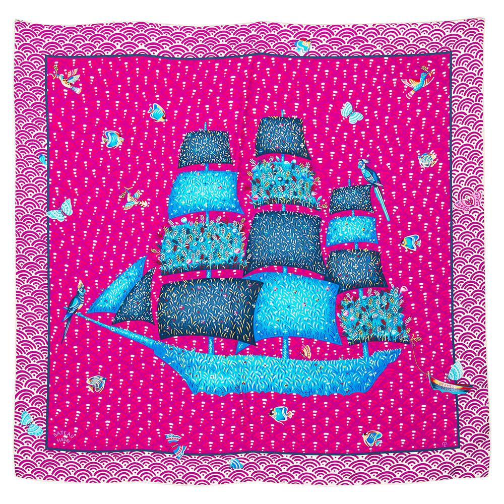 Hermes Fuschia Pink/Purple Bateau Fleuri Silk Square Scarf