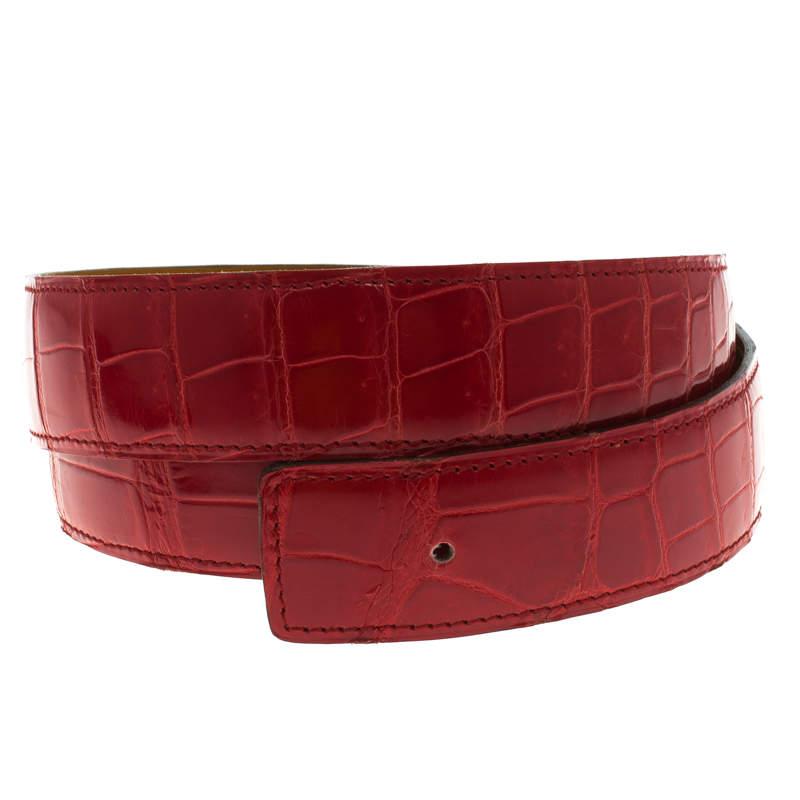 Hermes Red Porosus Crocodile Belt Strap 90 CM