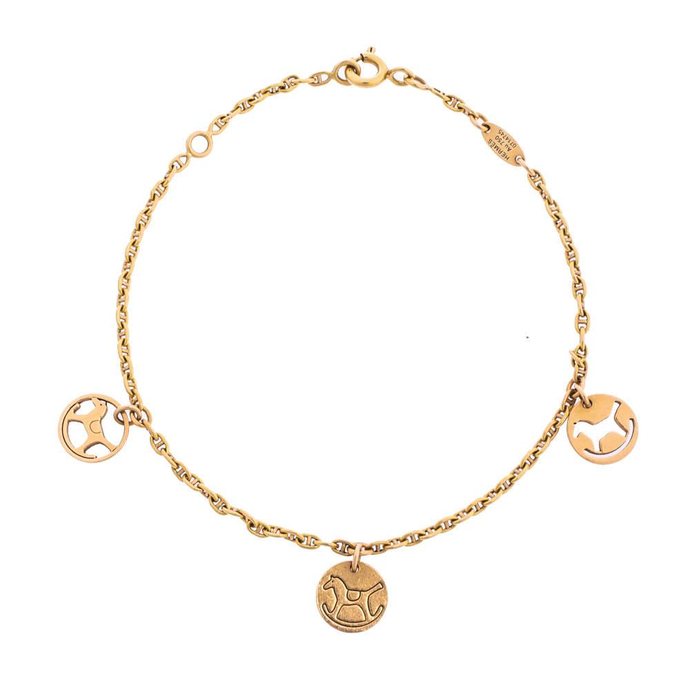 Hermès Three Rocking Horse Disc 18k Rose Gold Charm Bracelet