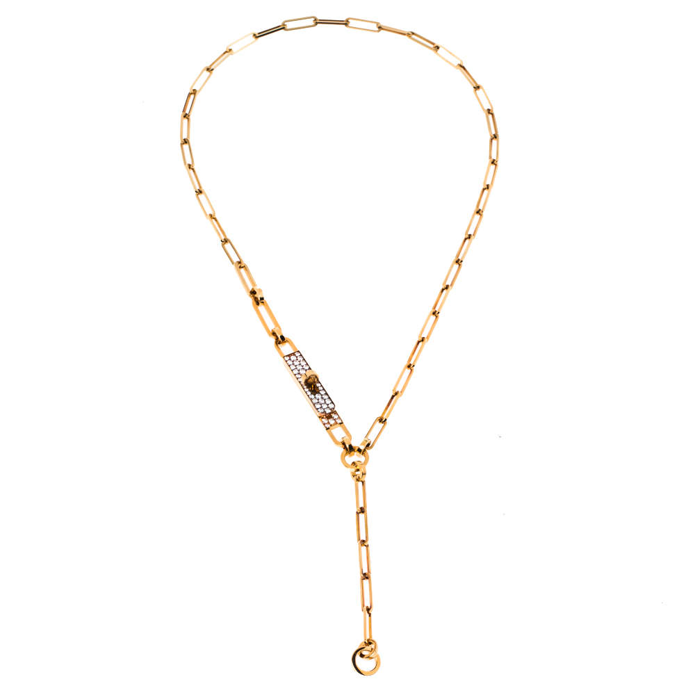 Hermes Kelly Chaine Diamond 18K Rose Gold Lariat Necklace