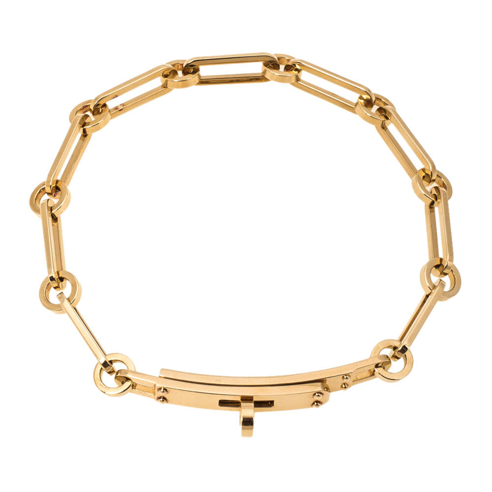 Hermes Kelly Chaine 18K Rose Gold Bracelet ST