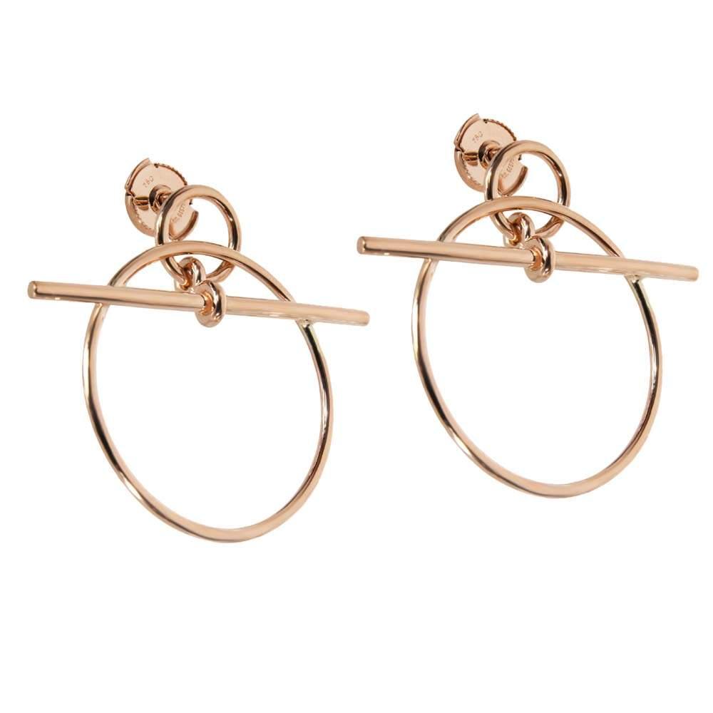 Hermes 18K Rose Gold Loop Small Model Earrings