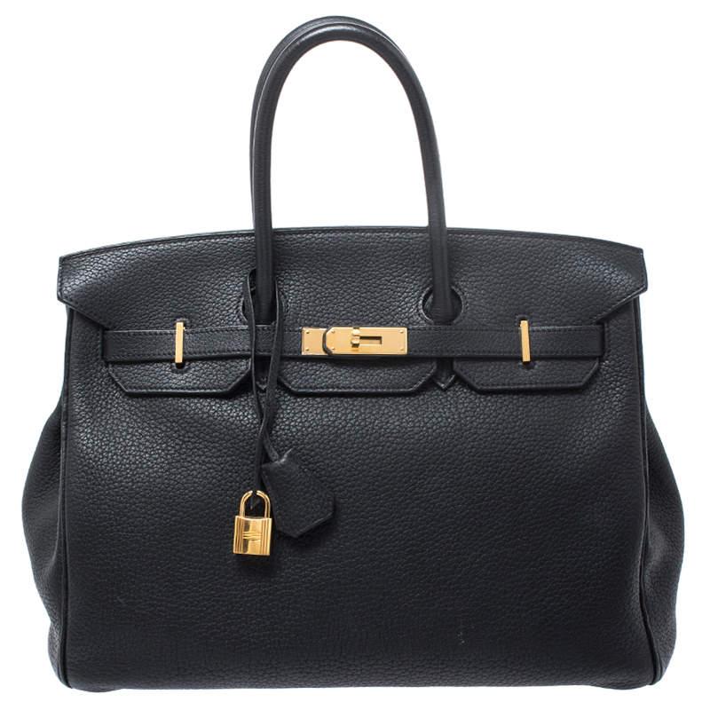 Hermes Black Fjord Leather Gold Hardware Birkin 35 Bag