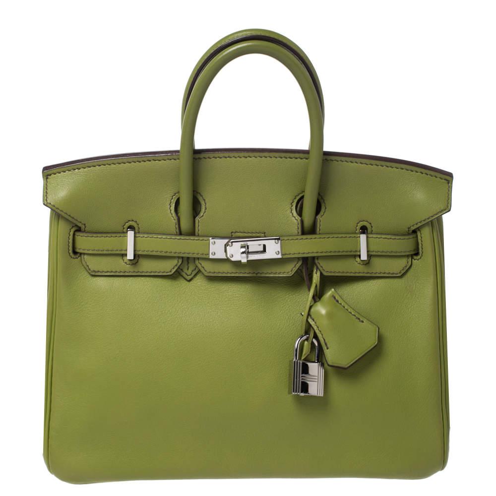 Hermes Apple Green Swift Leather Palladium Hardware Birkin 25 Bag