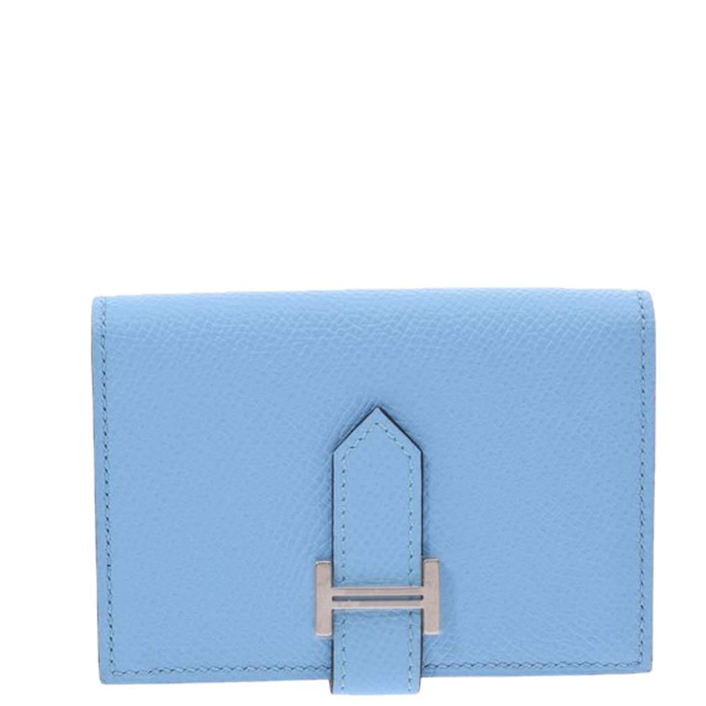 Hermes Blue Epsom Leather Bearn Wallet