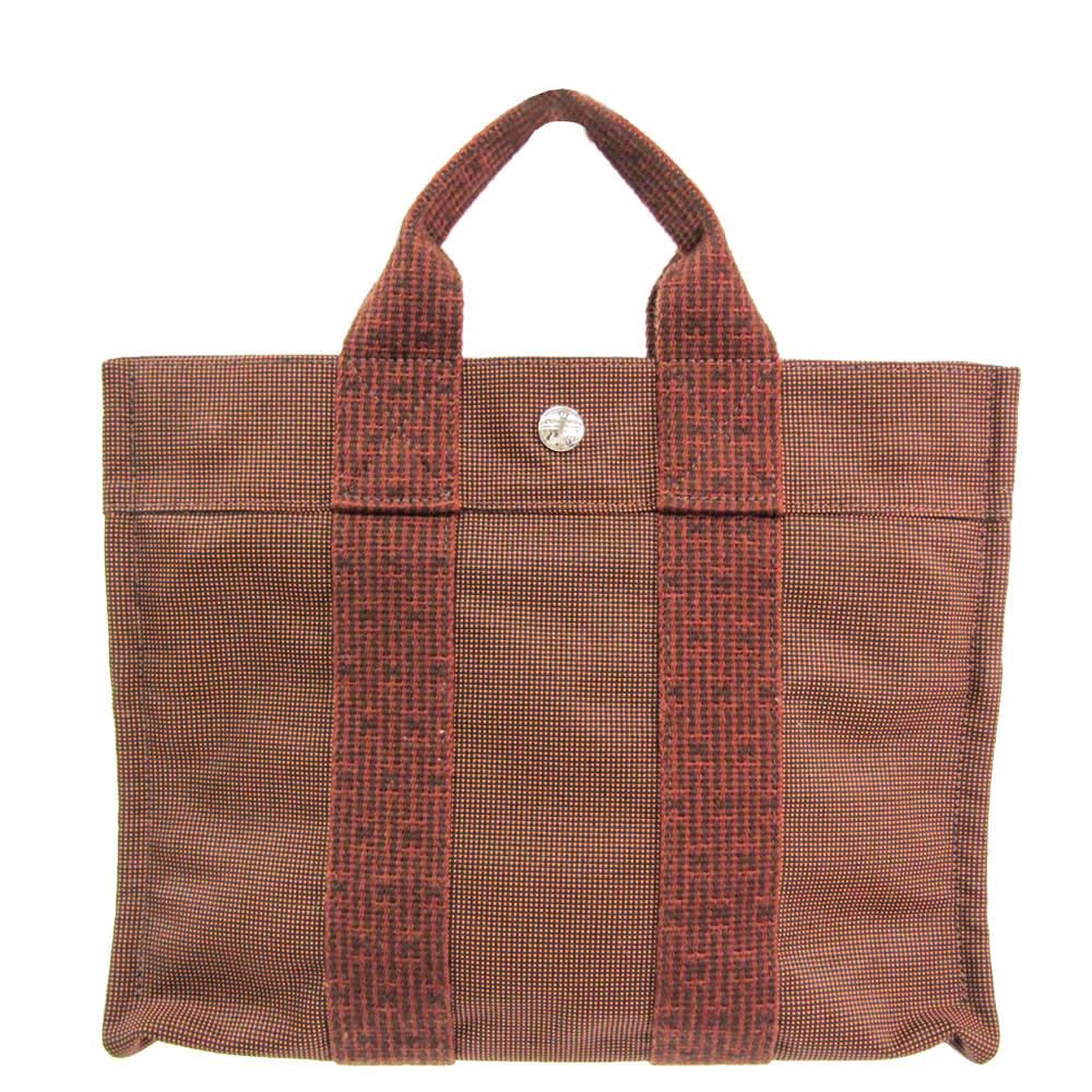 Hermes Brown Canvas Herline PM Tote Bag