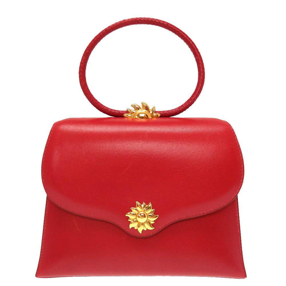 Hermes Red Leather Vintage Ilio Top Handle Bag