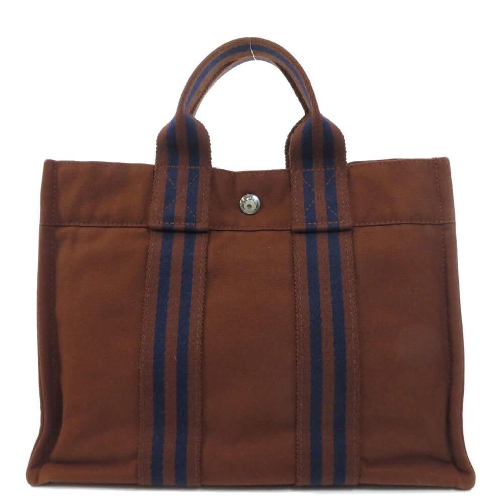 Hermes Brown Canvas Fourre tout PM Tote Bag