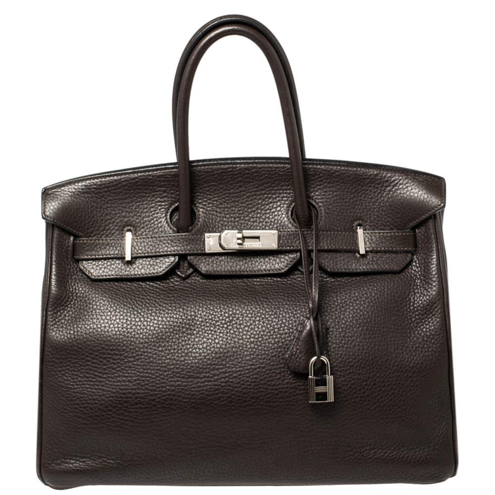 Hermes Cacao Clemence Leather Palladium Hardware Birkin 35 Bag