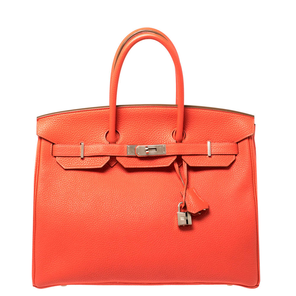 Hermes Rouge Pivoine Togo Leather Palladium Hardware Birkin 35 Bag