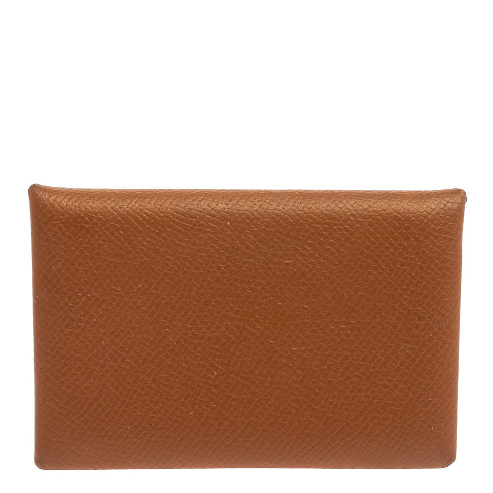 Hermes Gold Epsom Leather Calvi Card Holder