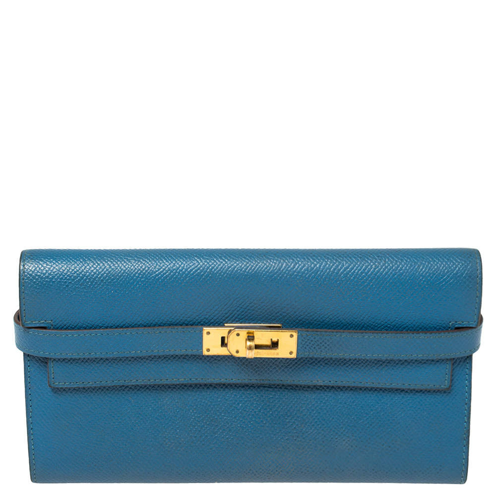 Hermes Mykonos Epsom Leather Kelly Wallet