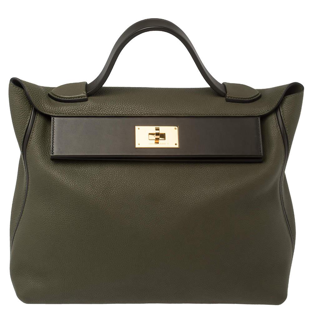 Hermes Vert Olive/Vert Bronze Taurillon Maurice Leather Gold Hardware 24/24 Bag