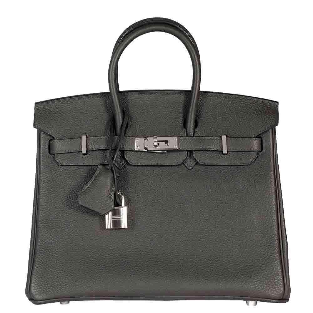 Hermes Black Togo Leather Birkin 25 Bag
