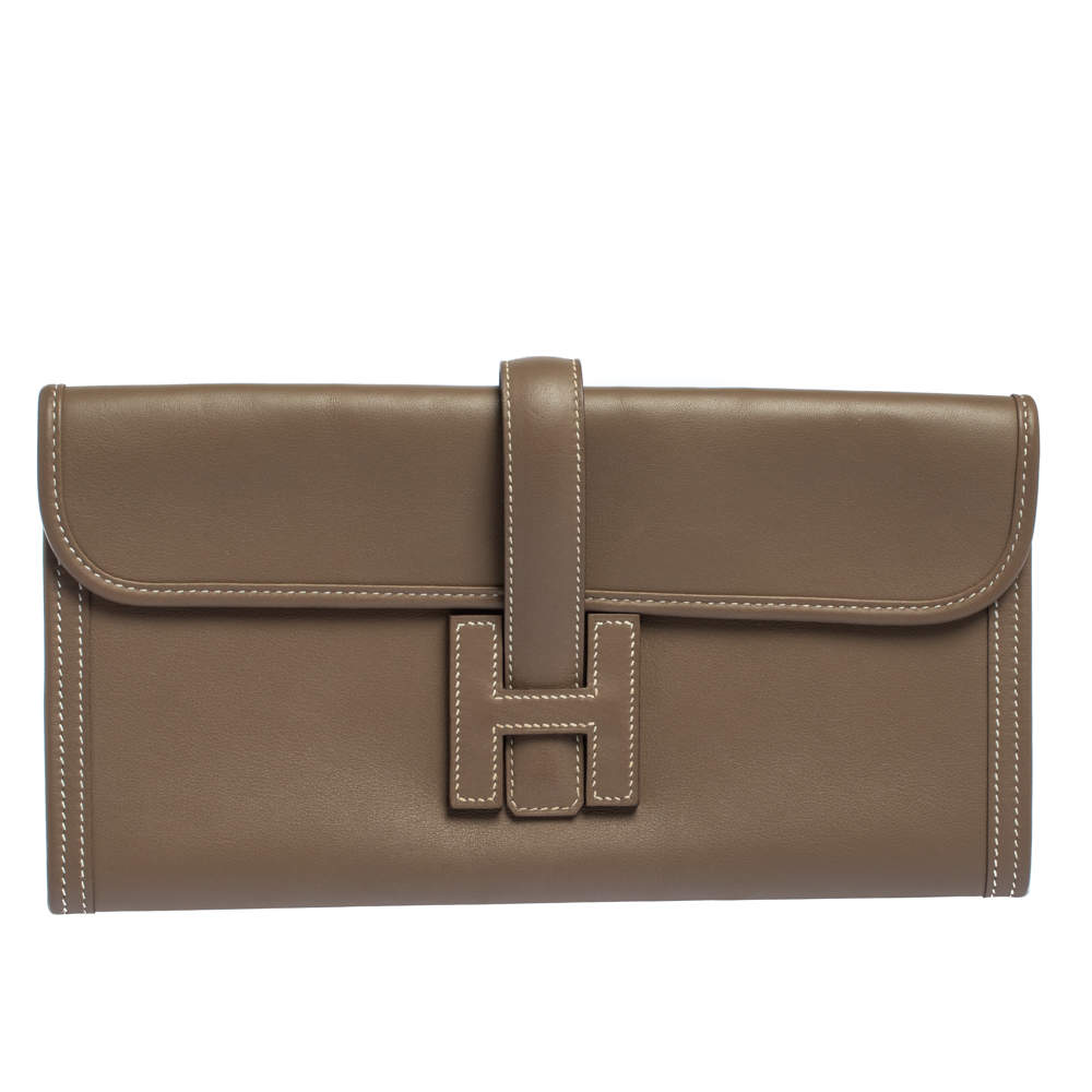 Hermes Etoupe Swift Leather Elan Jige 29 Clutch
