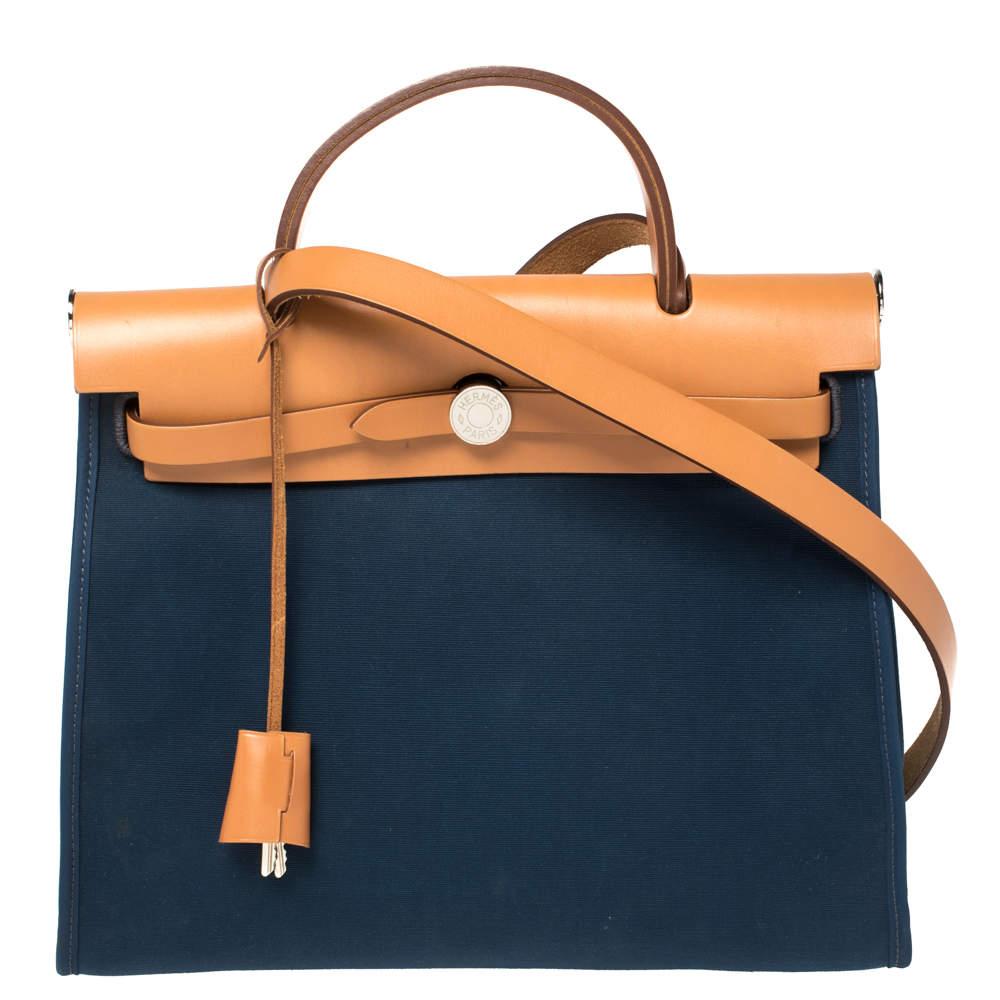 Hermes Bleu De Malte/Natural Canvas And Leather Herbag Zip 31 Bag