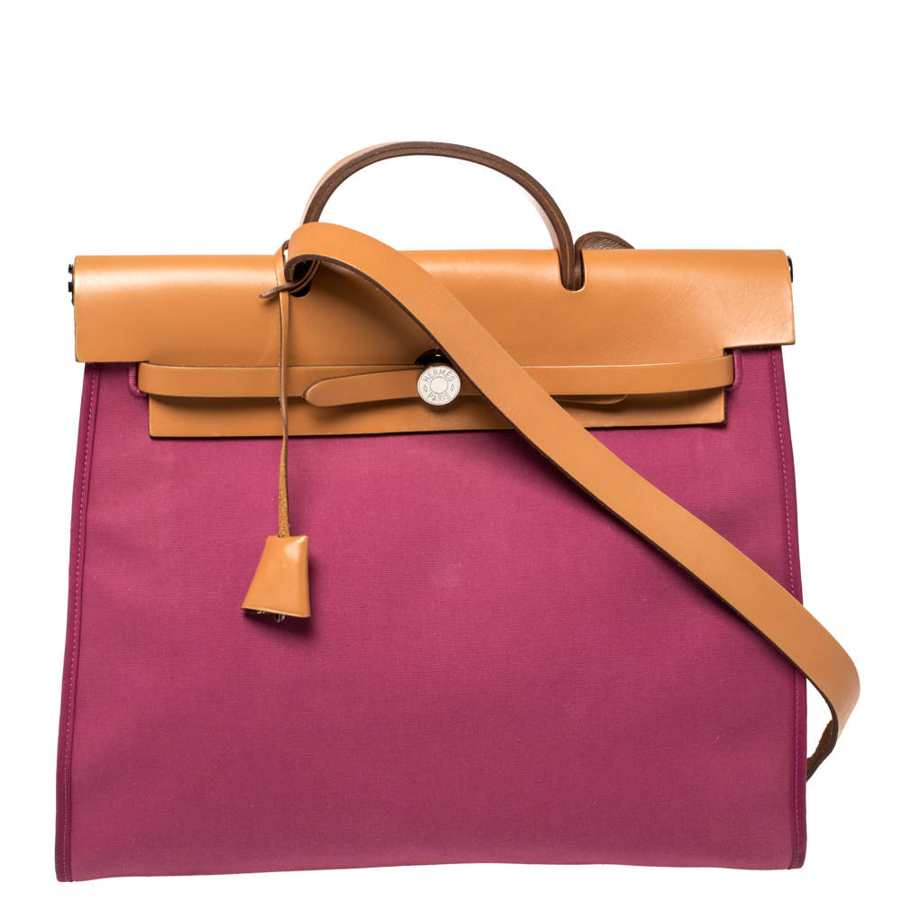 Hermes Tosca/Natural Canvas and Leather Herbag Zip 39 Bag