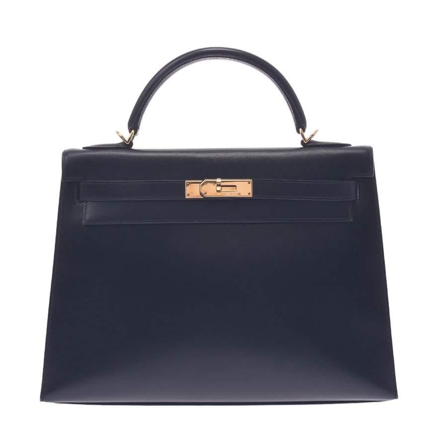 Hermes Black Box Leather Gold Hardware Kelly 32 Bag