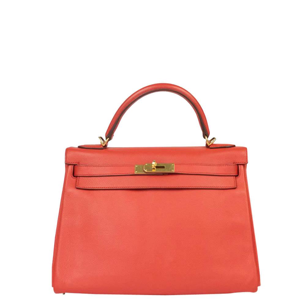 Hermes Red Leather Gold Hardware Kelly Shoulder Bag