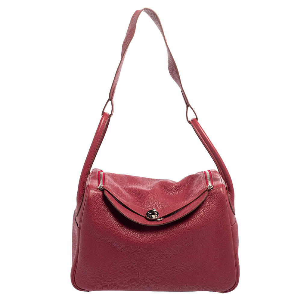 Hermes Tosca Taurillon Clemence Leather Palladium Finished Lindy 34 Bag