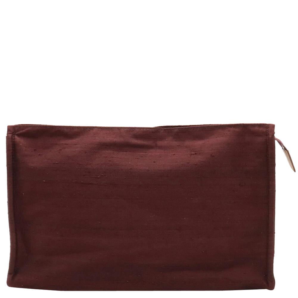 Hermes Brown Satin Leather Makeup Clutch Bag