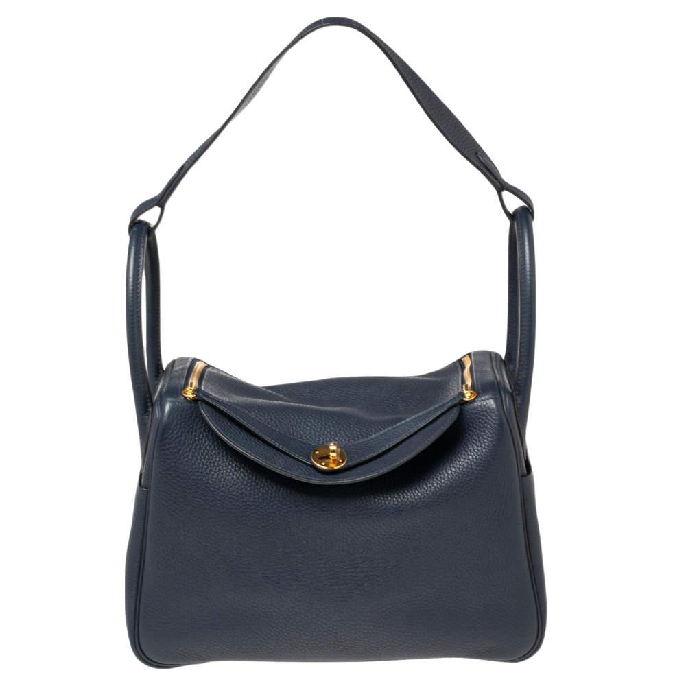 Hermes Blue Nuit Taurillion Clemence Gold Finish Lindy 30 Bag