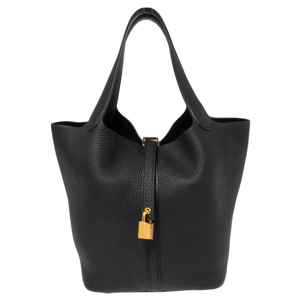 Hermes Black Taurillon Clemence Leather Picotin Lock 22 Bag