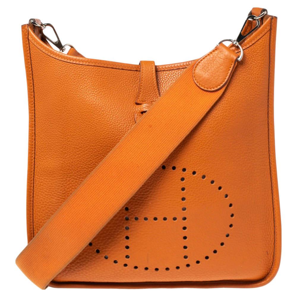 Hermes Orange Togo Leather Evelyne I PM Bag