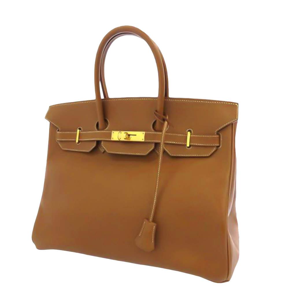 Hermes Brown Courchevel Leather Gold Hardware Birkin 35 Bag