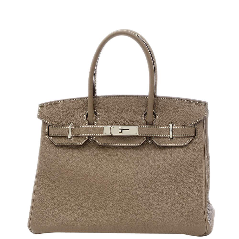 Hermes Brown Togo Leather Palladium Hardware Birkin 30 Bag