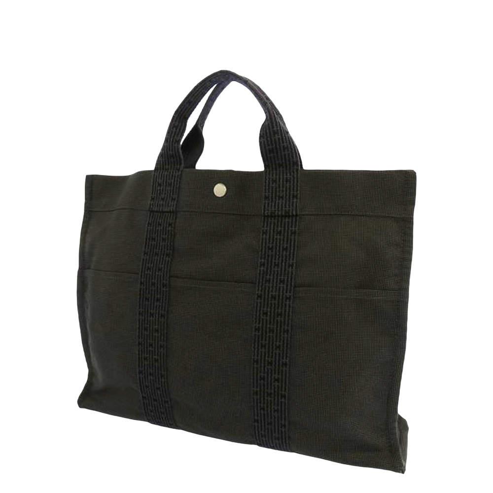Hermes Grey Canvas Herline Tote Bag
