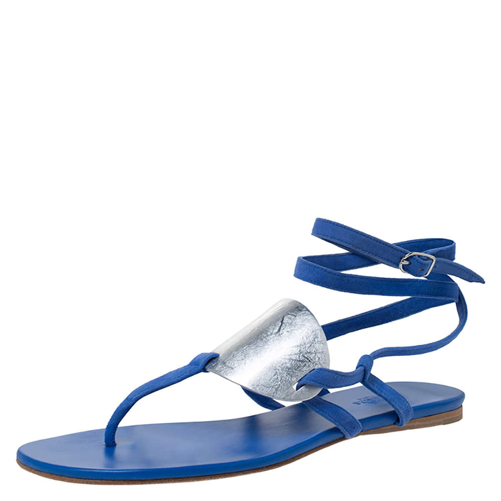 Hermes Electric Blue Suede Wrap Up Thong Flats Sandals Size 40