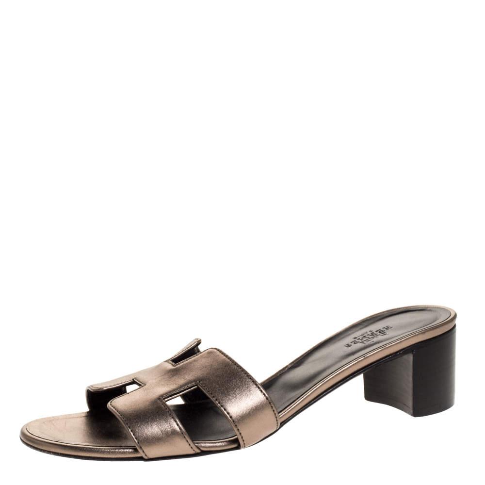 Hermes Metallic Bronze Leather Oasis Slide Sandals Size 37.5