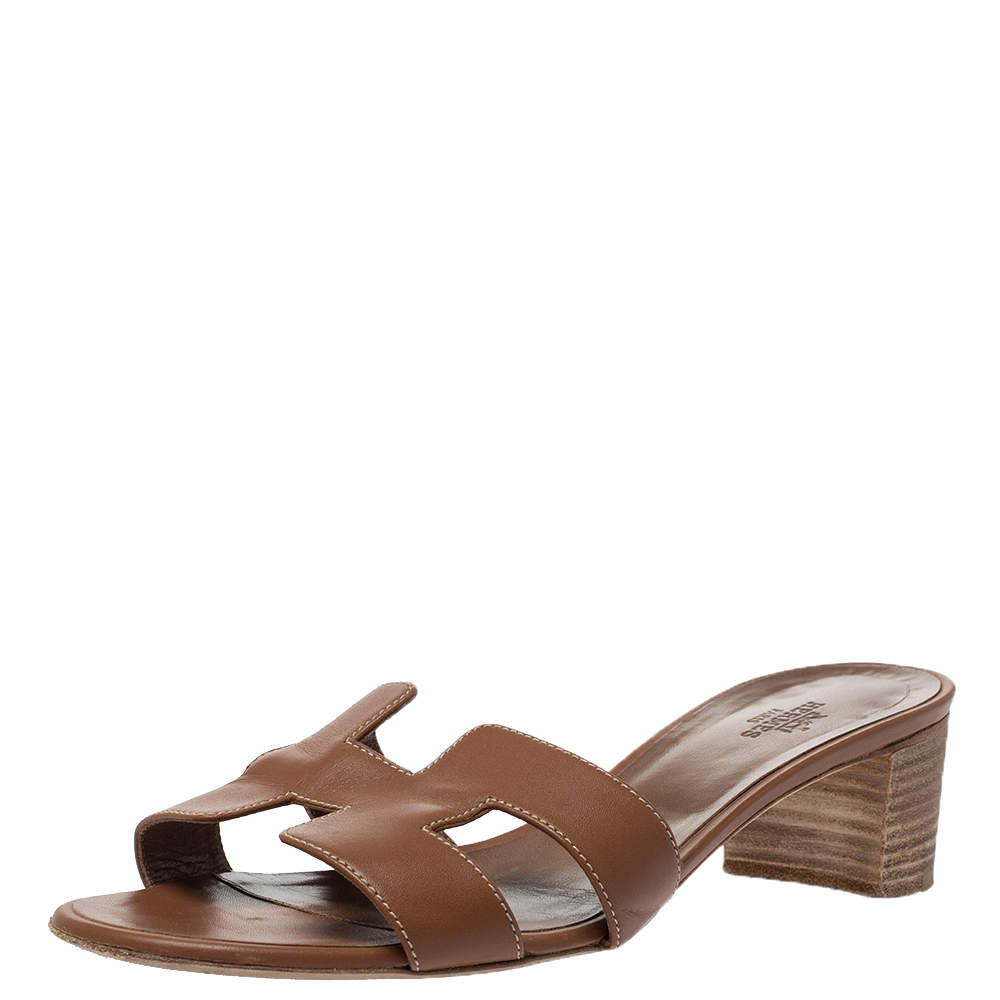 Hermes Brown Leather Oasis Slide Sandals Size 38
