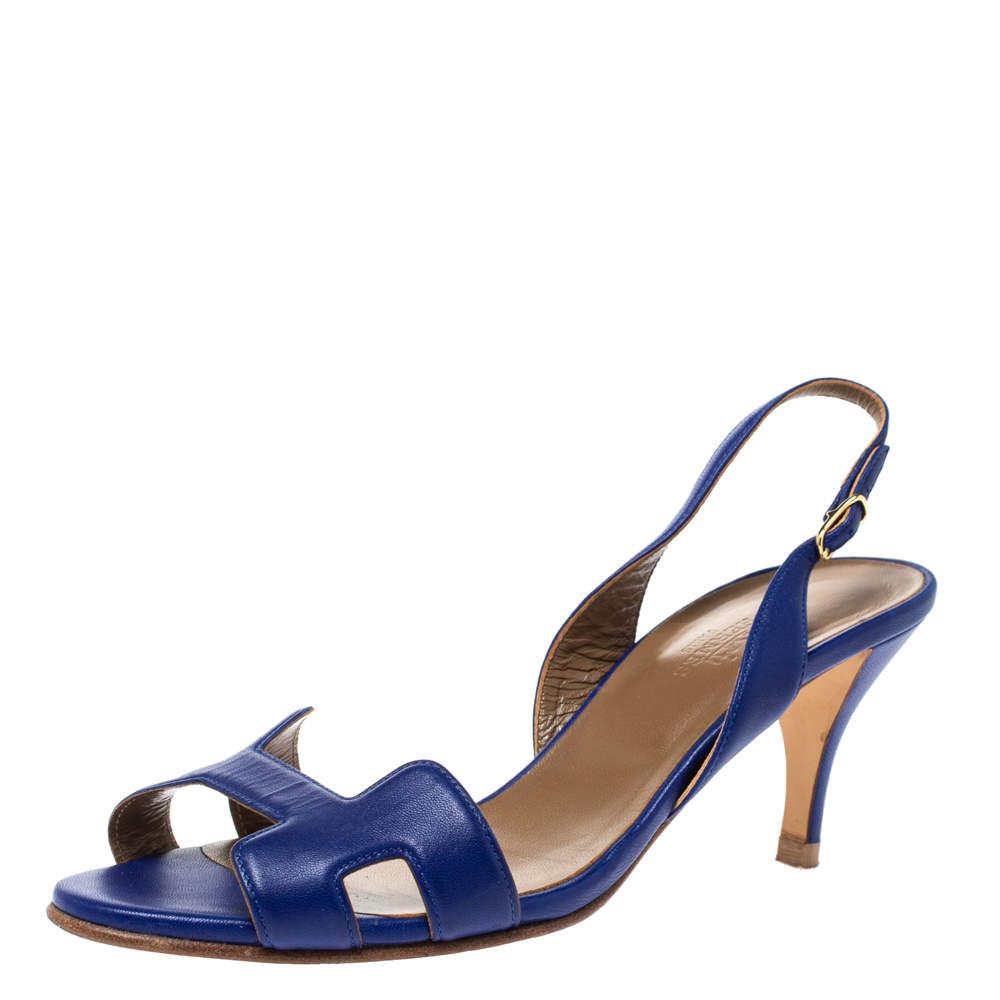 Hermes Royal Blue Leather Night Slingback Sandals Size 38.5