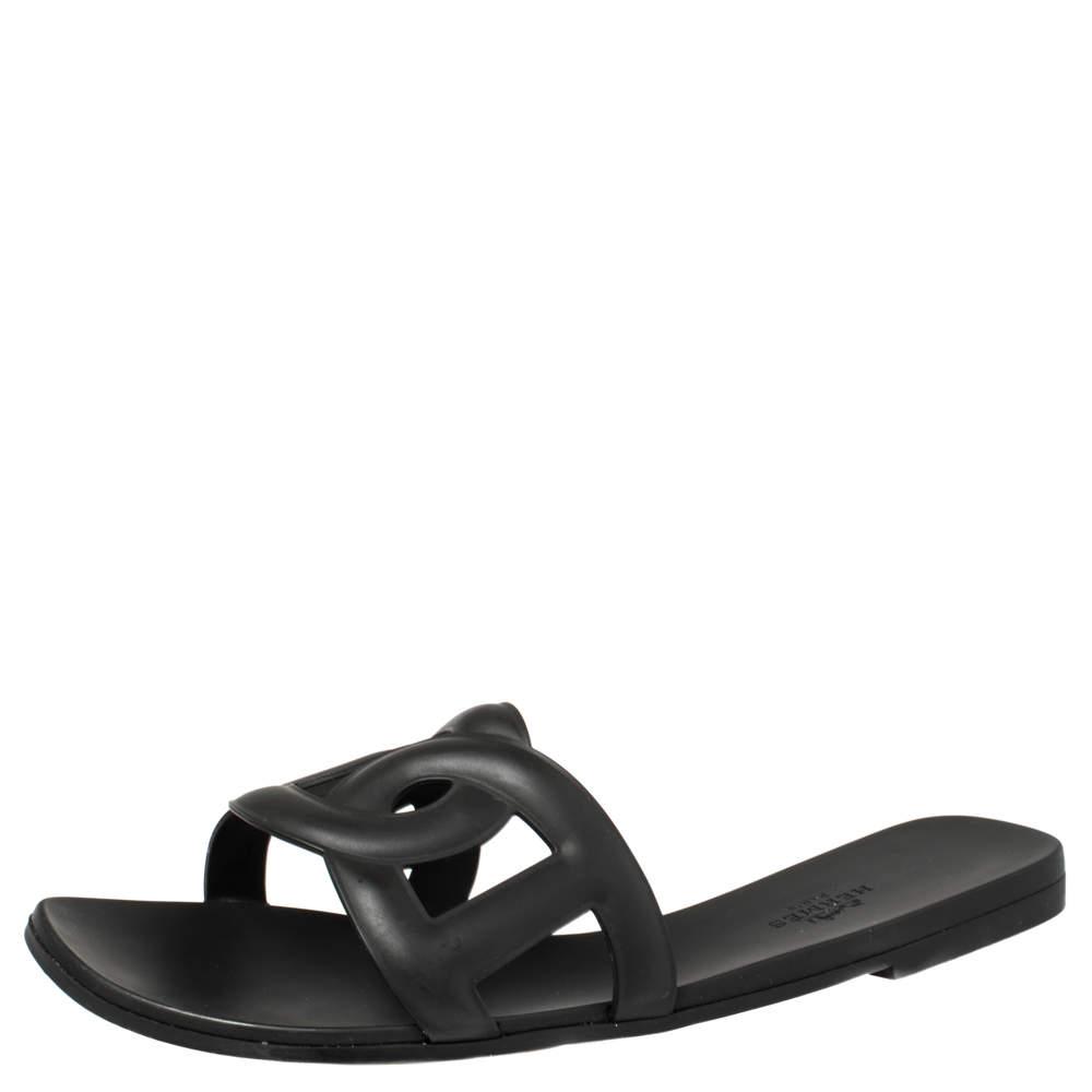 Hermes Black Rubber Aloha Flat Sandals Size 39