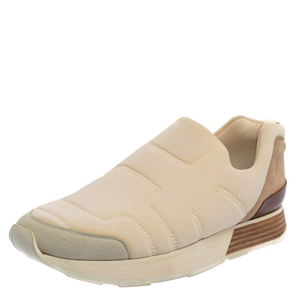 Hermes Off White Suede And Leather Low Top Sneaker Size 39.5