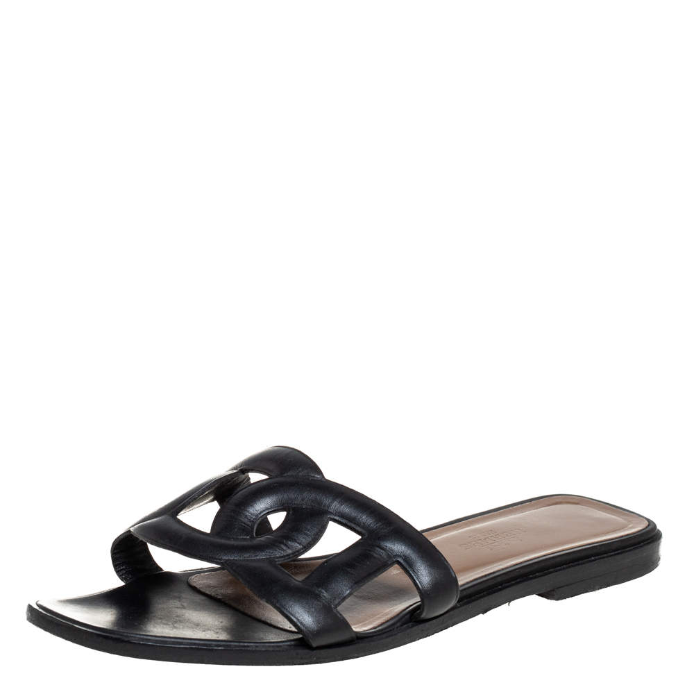 Hermes Black Leather Omaha Slide Sandals Size 37
