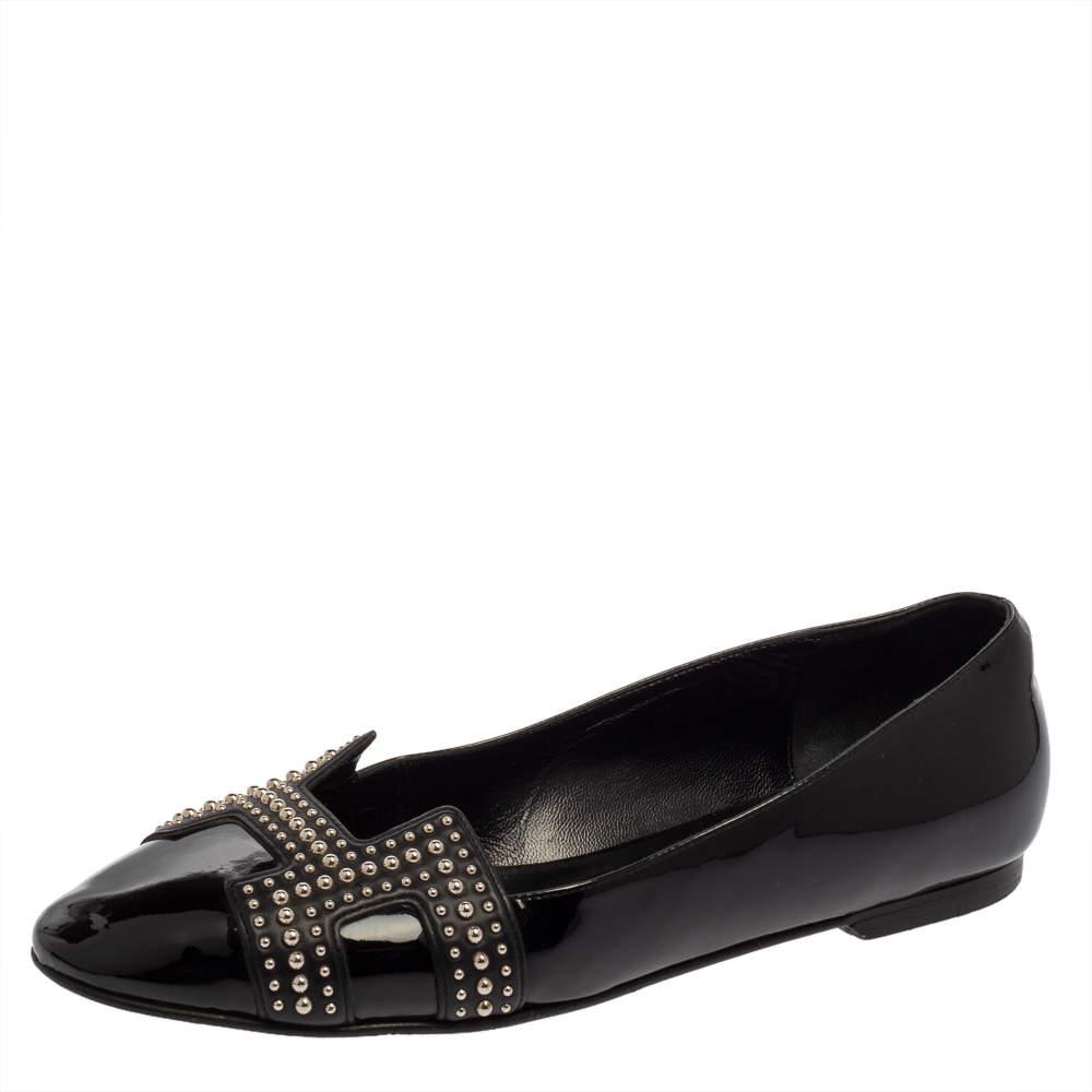 Hermes Black Patent Leather Studded Nice Ballet Flats Size 39