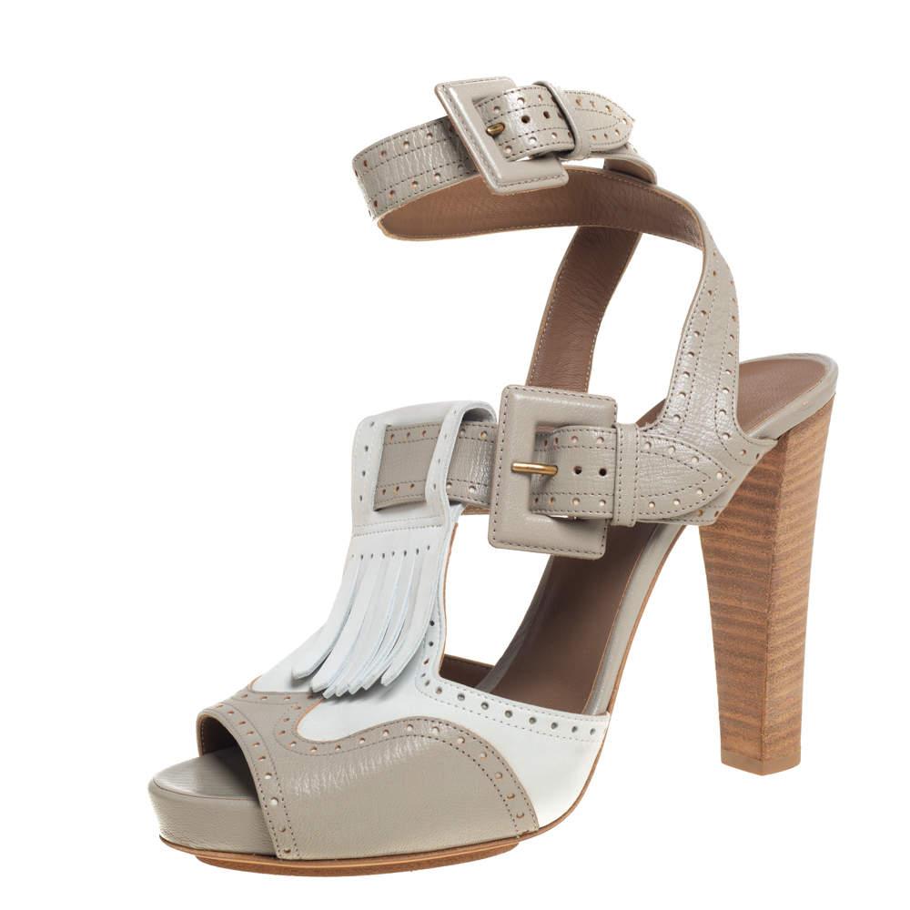 Hermes Grey/White Leather Fringe Platform Sandals Size 40