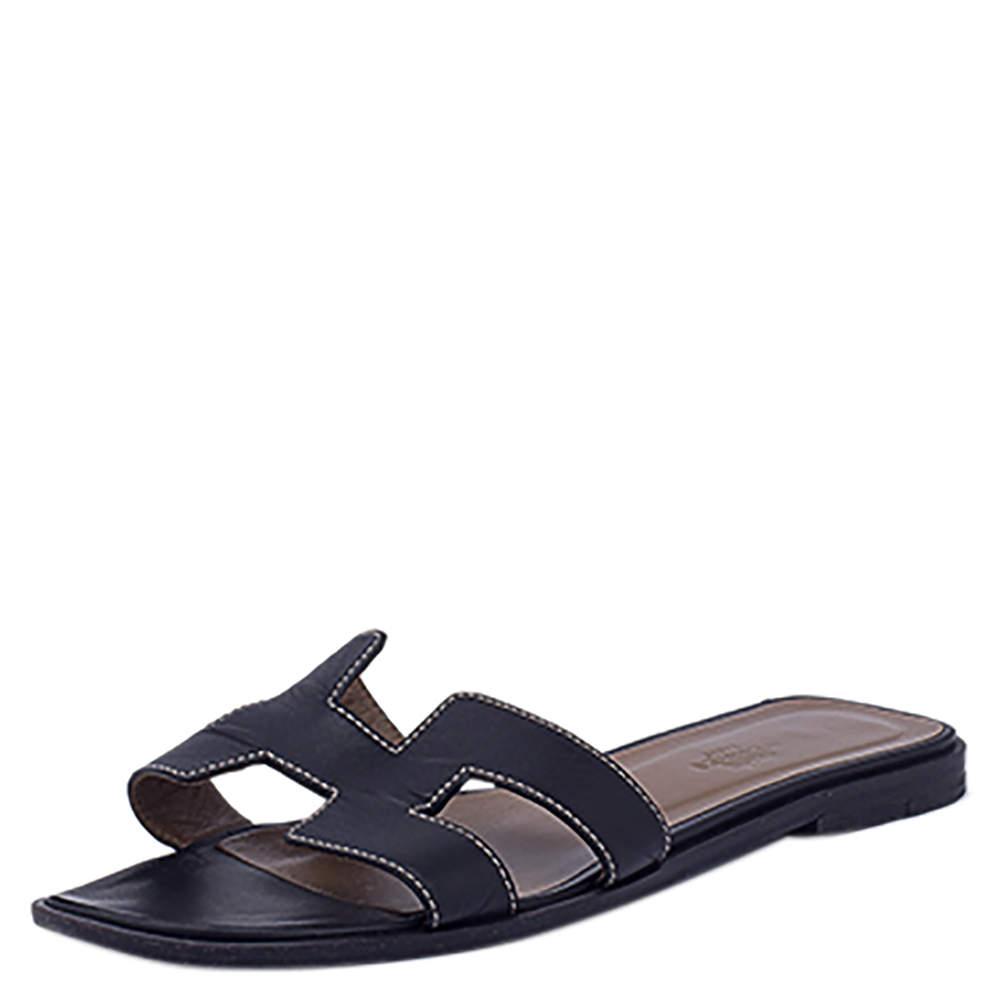 Hermes Black Leather Oran Flat Slides Size EU 38