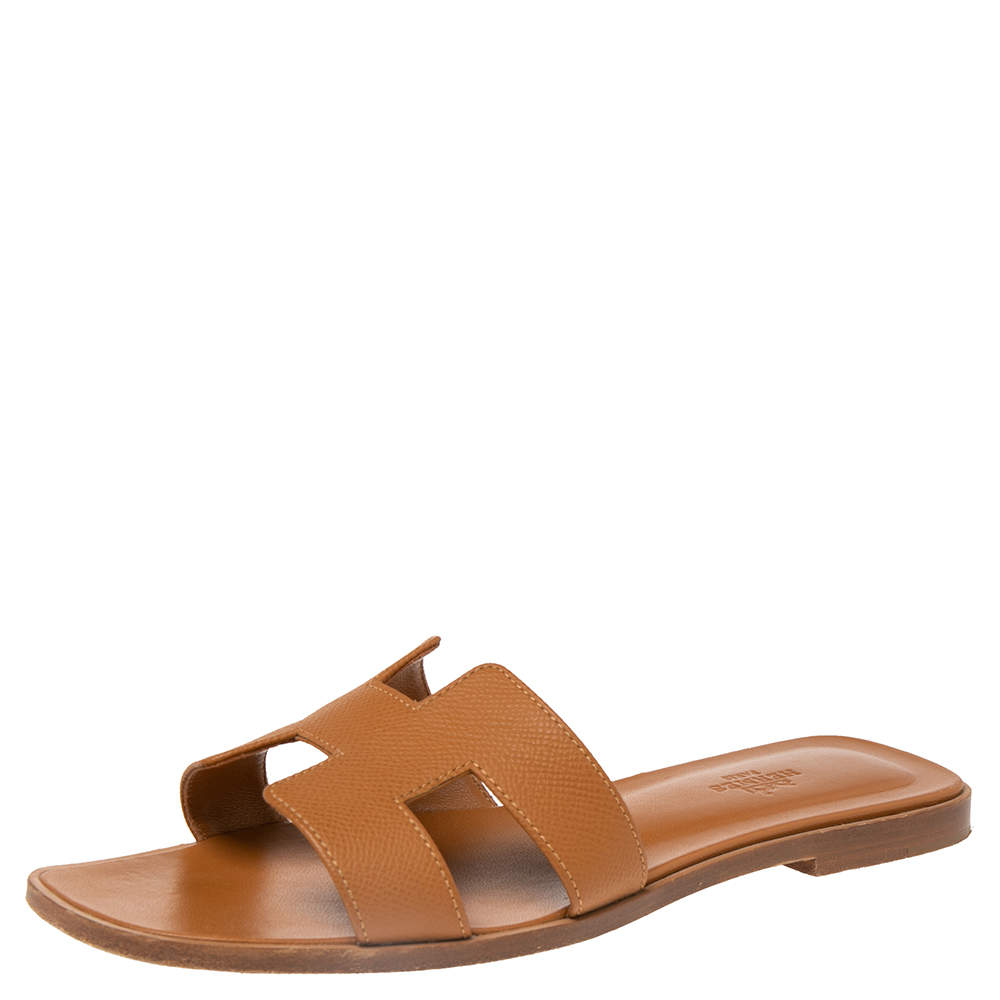 Hermes Brown Leather Oran Flat Sandals Size 39